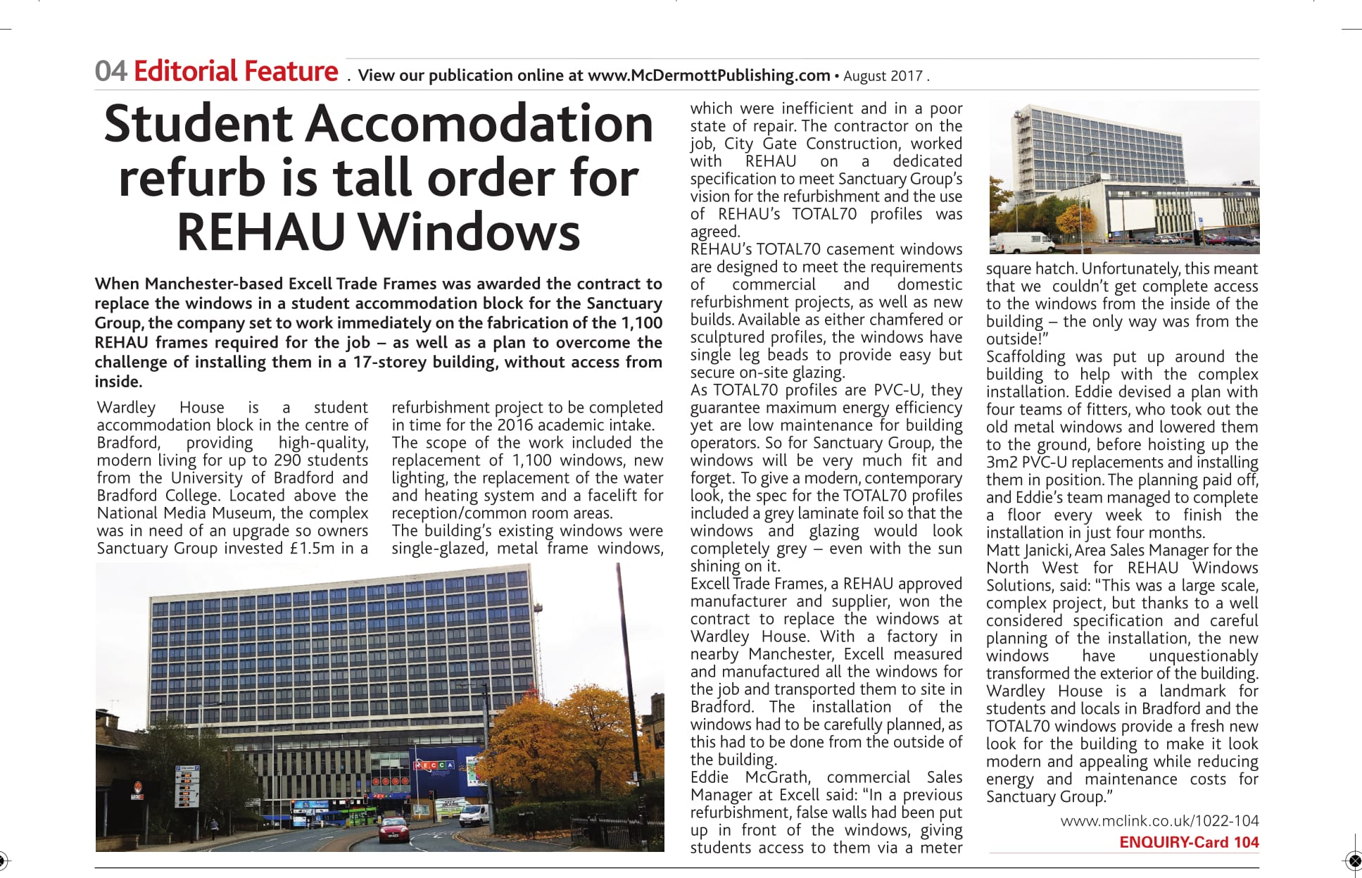 Excell Trade Frames Complete 1,100 Replacement Windows in Student Tower Block